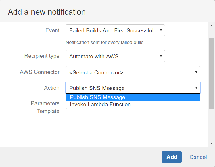 Automate with AWS notification recipient