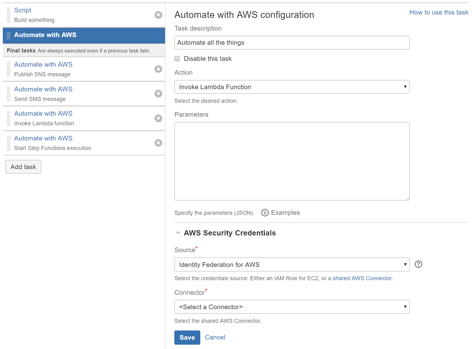 Automate with AWS task