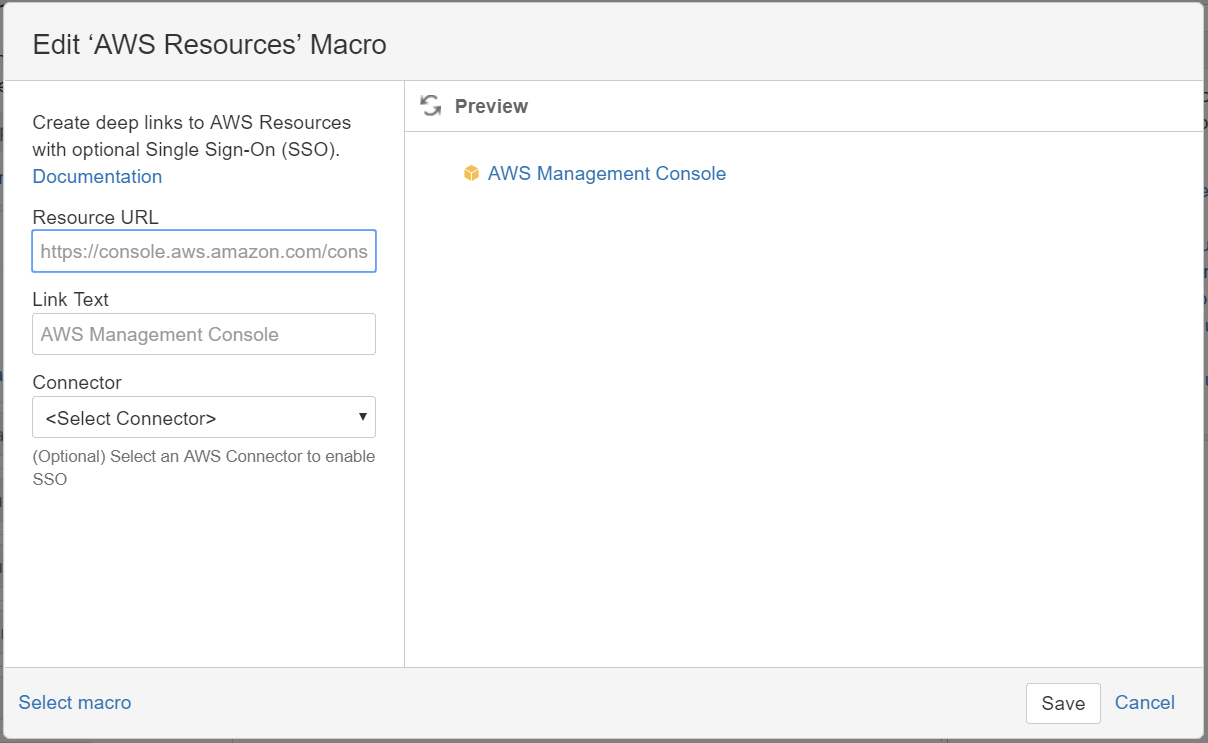 AWS Resources macro configuration
