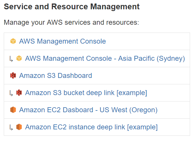 AWS Resources sample dashboard
